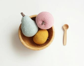 Apples and pear set,Pear, crochet pear, crocheted pear, pear toy, fruit toy, apple,crochet apple,toys, montessori toy
