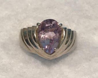 summer17 ISC Sterling Pear Shaped Amethyst Ring - Size 7 - CA 1970's - Item R109