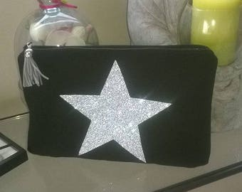 black and Silver Star make-up case silver