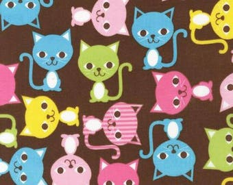 Cat fabric, Robert Kaufman, Urban Zoology, 100% Cotton, UK sales only