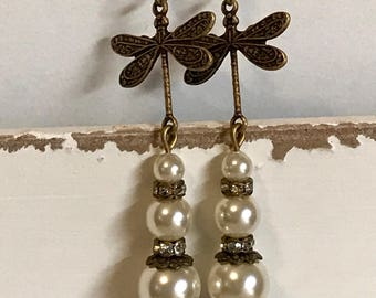 Pearl and dragon fly antique bronze earrings