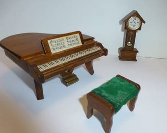 Vintage doll house piano, stool and grandfather's clock