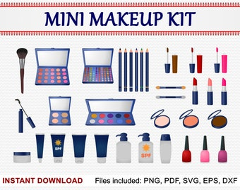 Mini Makeup Clipart, Set of 34 Commercial Use Clipart, Lotion, Lipstick, Compact, Mascara, Nail Polish, Blusher, pdf png eps dxf svg files