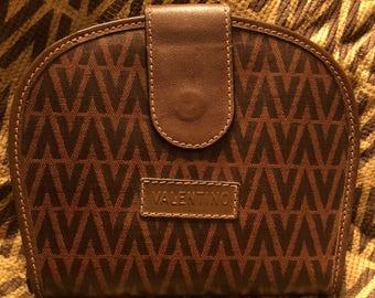Mario Valentino Vintage Coated Canvas Brown Wallet
