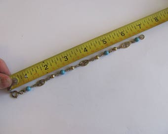 Vintage Blue Bead and Gold Filled Bracelet