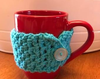 Aqua Coffee Cup Cozy