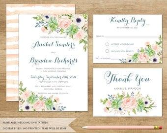 Succulent Wedding Invitation. Printable Wedding Invitation. Watercolor  Cactus. Floral Wedding Invitation. Succulents