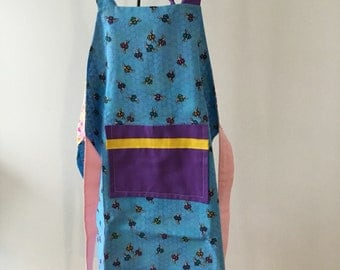 Children's Reversible Apron - Bees / Triangles