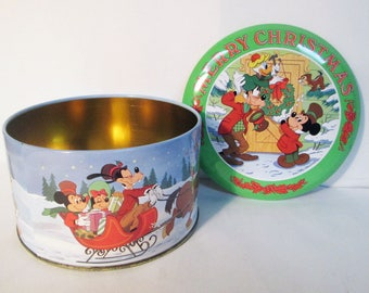 Disney Merry Christmas Tin Container Mickey Minnie Mouse Goofy Donald Duck