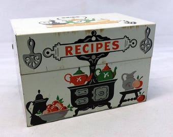 Vintage Metal Recipe Card Box Stylecraft 805 Orange, Black, Green Stove Teapot Design