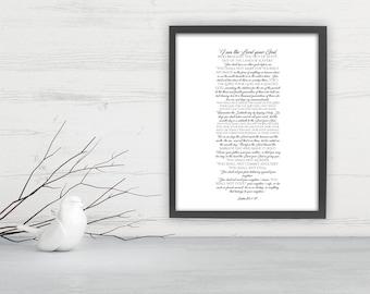 10 Commandments, Framed Scripture Print, Bible Verse Print, The ten commandments, gift, christian decor, Exodus 20, print, preacher gift