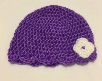 Scalloped crochet hat