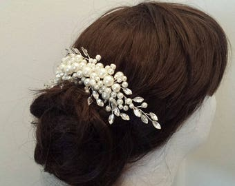 Bridal Hair Comb, Pearls & Glass Stone Vine Hair Comb, Wedding Hairpiece (HC28)
