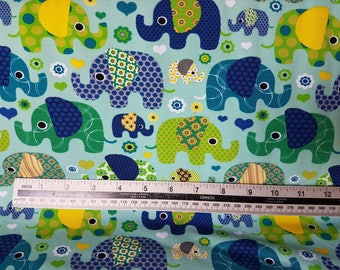 Patchwork Elephants - Green, Cotton Lycra Jersey Knit Fabric
