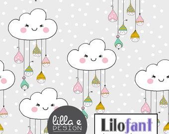 Sweet Drops Clouds, Light - Lilofant Organic Cotton Lycra Collage Jersey Knit Fabric