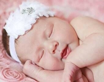 White Baptism Headband, Christening Headband, Baptismal Hair Bow, Baby Headband,Newborn Headband, White Infant Headband, Baby Headbands