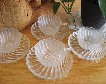 Anchor Hocking-The Shell Collection-Tea Cups and Saucers - #1638