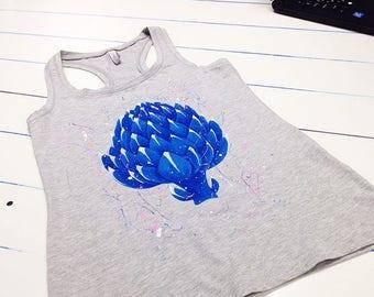 "Hand-painting undershirt ""blue  artichoke"""