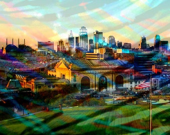 Kansas City Art Skyline, Paint the Town, Kansas City Art, Kansas City Downtown, Original Art Photography