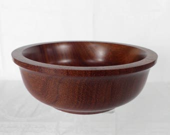 Hand Made Turned Red Wood Bowl by GEMS Tregynon Wales