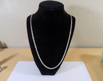 Stunning 30 inch sterling silver 3 mm rope necklace