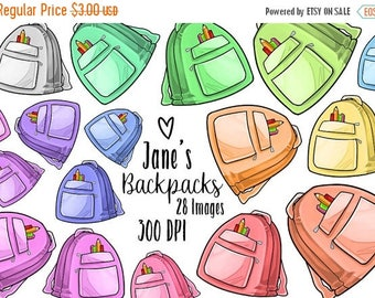 50% OFF Kawaii Backpacks Clipart - Education Download - Kawaii Design Download - Back to School Supplies