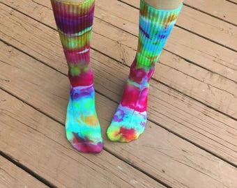 MADE TO ORDER Tie Dye Crew Socks Custom - Psychedelic Trippy Hippie Boho Mens Womens Festival Clothing
