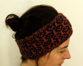 Nordic headband lined and reversible - blue and orange