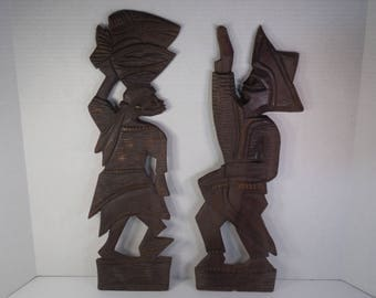 Vintage Wood Tribal Man And Tribal Woman African Wall Art Hand Carved Africa Tribal Folk Art Wall Plaques Male And Female Couple 20 Inches