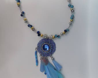Blue dreamcatcher necklace