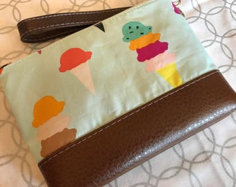 Ice Cream Cones Clutch with Faux Leather