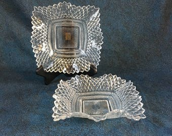 Vintage Indiana Diamond Point Mint or Candy Dish, Set of 2