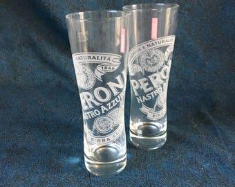 Vintage Peroni Nastro Beer Pilsner Glass, Set of 2