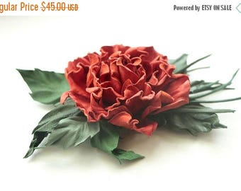 SAVINGS Red Leather  Rose Brooch, Red rose, leather roses, gift for her, wedding anniversary, womens gift, from husband