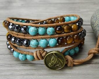 Leather Wrap bracelet Yellow tiger eye bracelet boho bracelet turquoise bracelet Tiger eye wrap bracelet hematite beads bracelet SL-0299