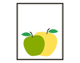 Apples Art Print | Digital Printable Digital Print Digital Download Wall Art