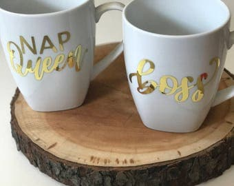 Nap queen /boss gold foil mug