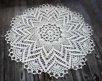 Crochet doily, round lace doily, white crochet doily 13.38 in, lace doilies for wedding tables