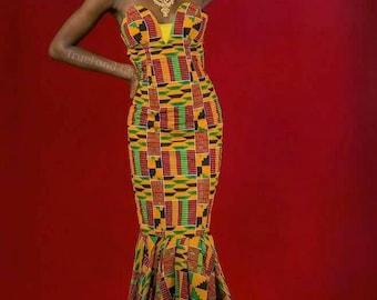 Kente Ankara Long Flare Women's Gown Dress for Prom, Engagement