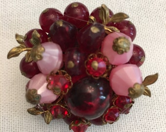 Vintage Red and Pink Brooch. Western Germany.