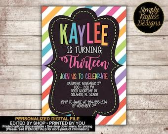 Striped Thirteenth Birthday Party Invitation