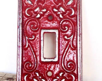 ON SALE Red Light Switch Plate - Lightswitch Cover - Red Wall Decor - Wall Accents - Light Switch Cover - Lightswitch Plate - French Country