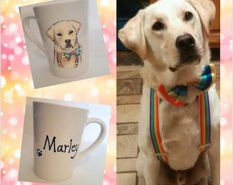 Hand painted custom pet portrait wine glass or coffee mug