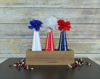 4th of July Decorations, 4th of July Decor, Independence Day Decor, Red White and Blue Vase Set, 4th of July centerpiece, Americana Decor