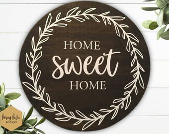 home sweet home, laurel sign, round bamboo sign, entryway decor, laurel wreath, floral bamboo decor, hallway wall hanging, kitchen sign