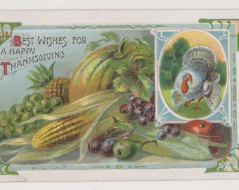 Antique Thanksgiving Postcard, Printed in Saxony, Holiday Greetings, Ephemera