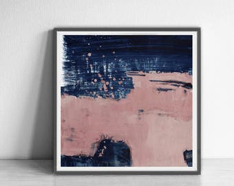 Abstract printable art, Navy blue brush strokes and light pink, Modern art prints, Abstract paintings instant download , larger abstract art