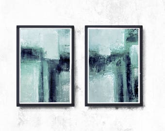 Abstract Painting, Minimalist Art Set Of 2 Prints, Pale Aqua Turquoise ,Blue Modern Art  Painting, Contemporary Coastal Wall Decor, mint