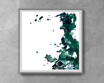 Teal Abstract Art, Teal Print, green Wall Art, Sea Green Printable Art, Teal Watercolor ,Abstract Watercolor Print, white and emerald green