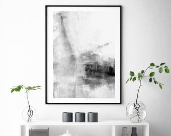Grey & White Abstract Wall Art, Grey Stripes, Minimalist Art, Brush Stroke Minimalist Lifestyle  Modern Art, Large Poster , Trending Now